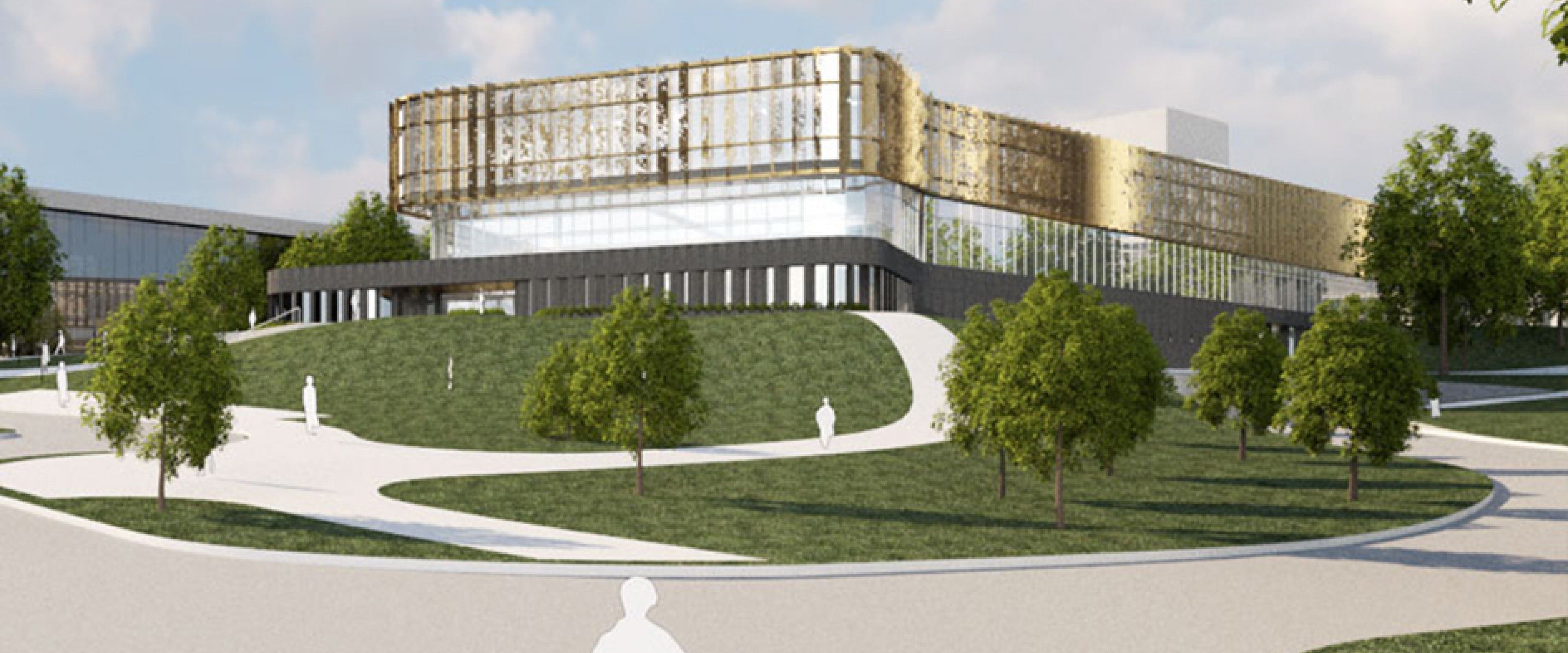 Rendering of the bright, new student center on a raised hill with a winding sidewalk leading to it
