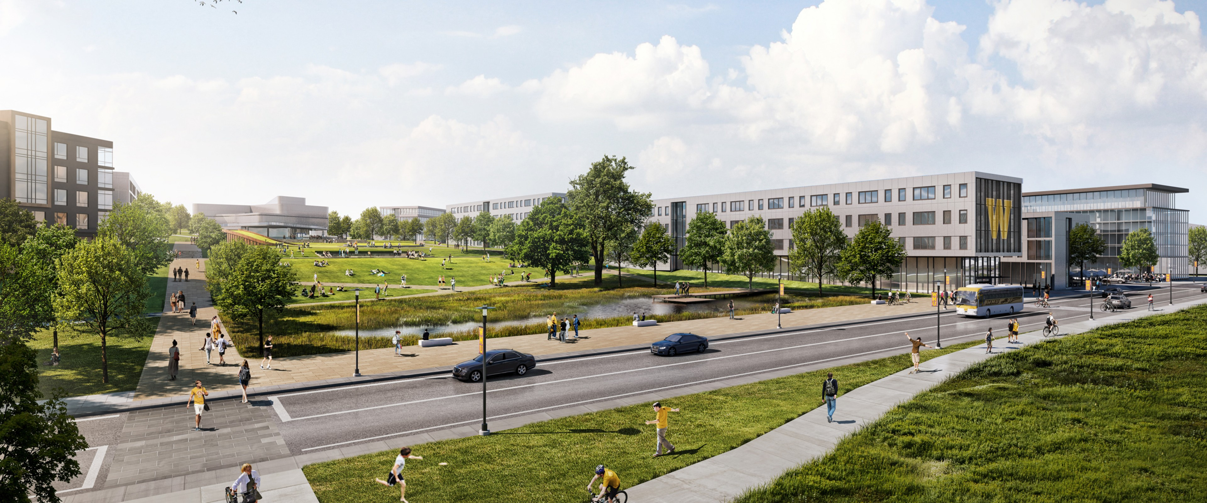 Rendering of the Viewshed, a large green space with wide sidewalks