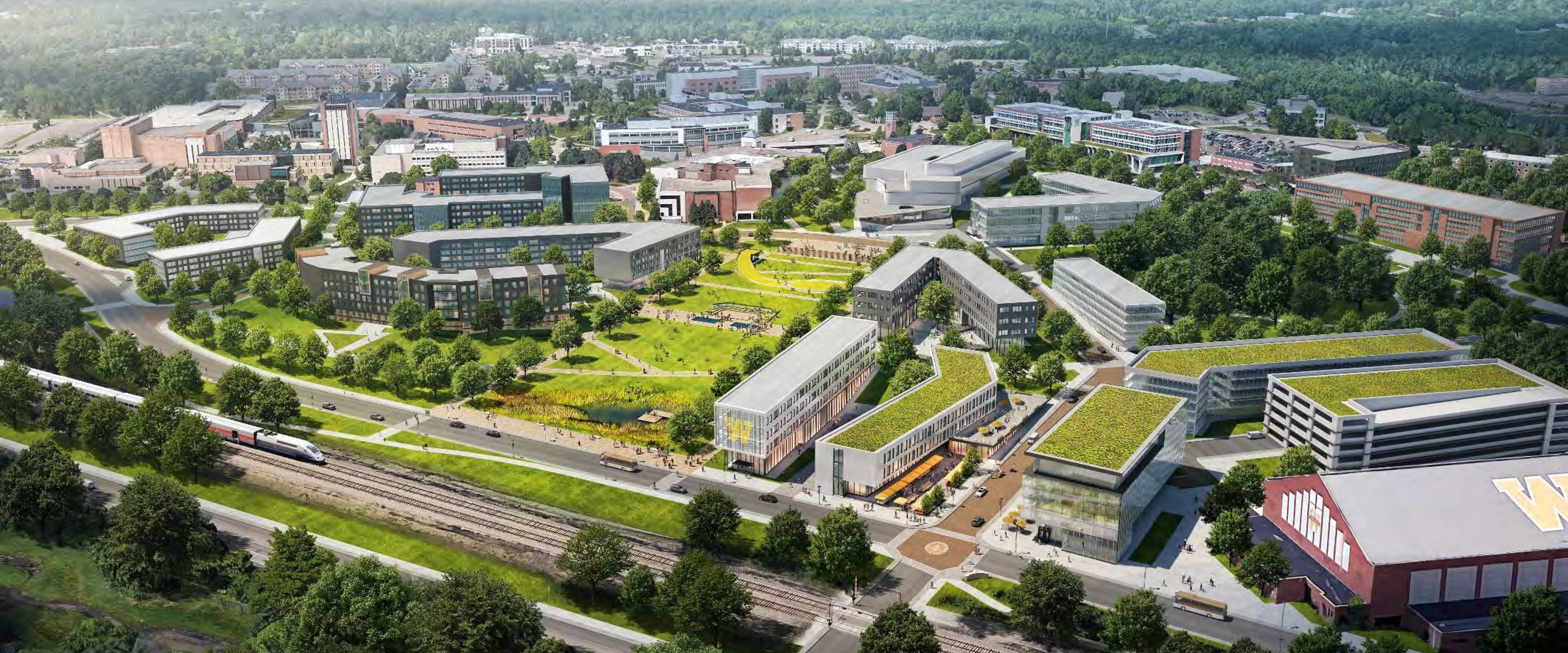 An aerial rendering of the new buildings and green spaces that will comprise the Hilltop Village