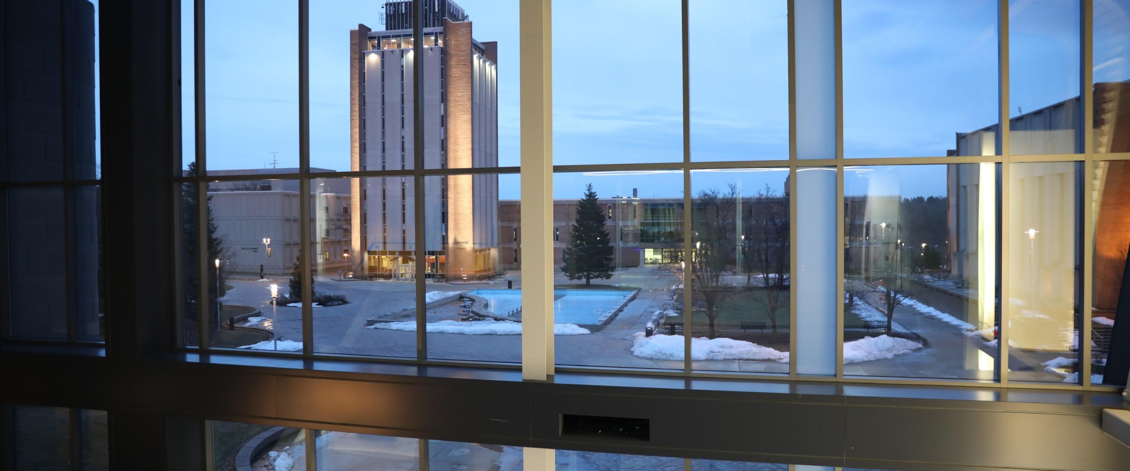 lobby of a building at dusk