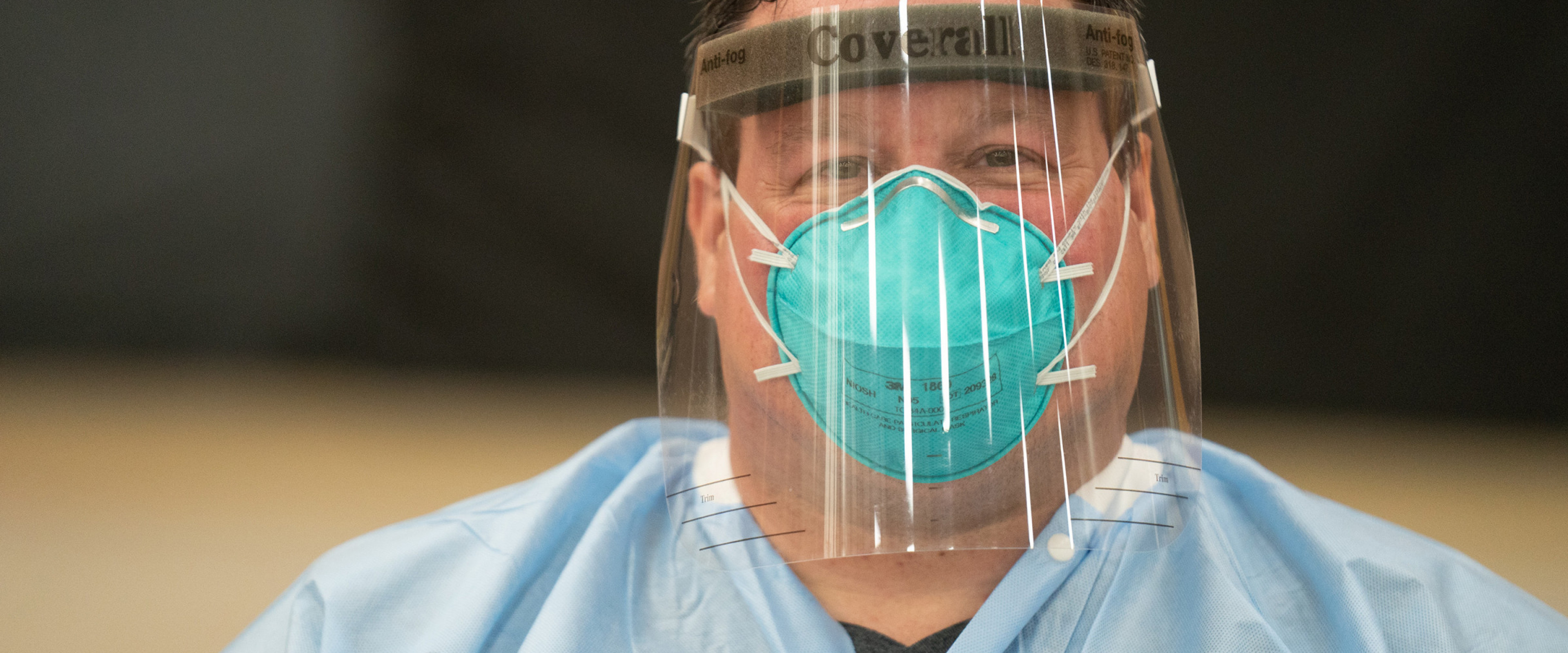 Doctor in N95 mask with face shield