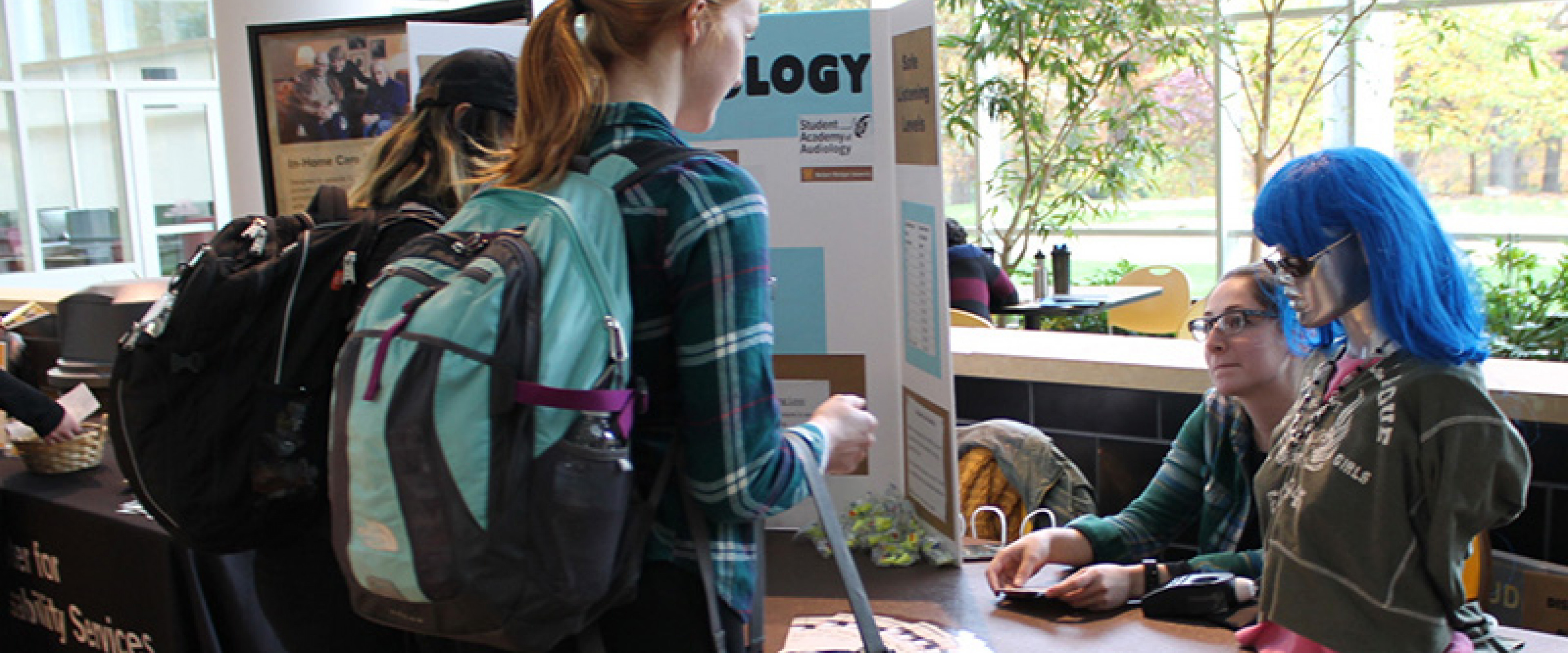 Students at a booth