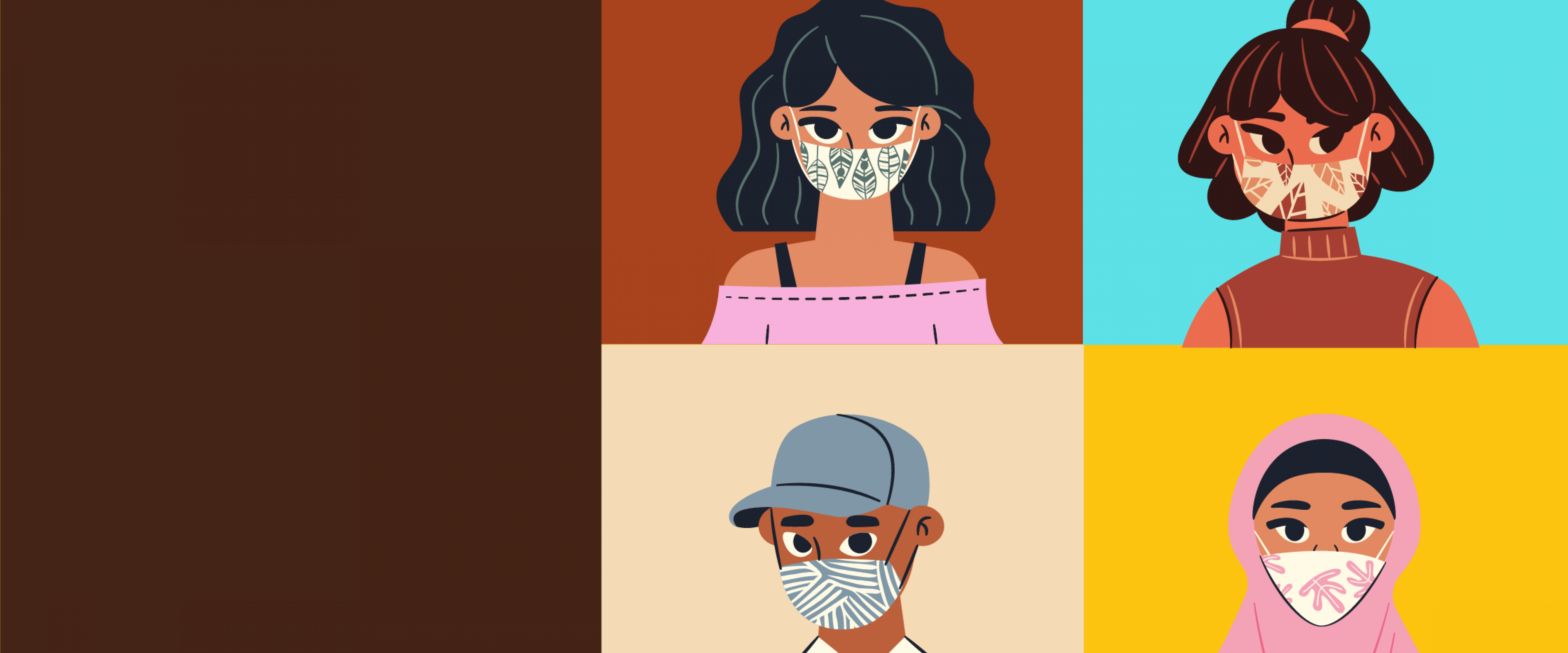cartoon people wearing masks
