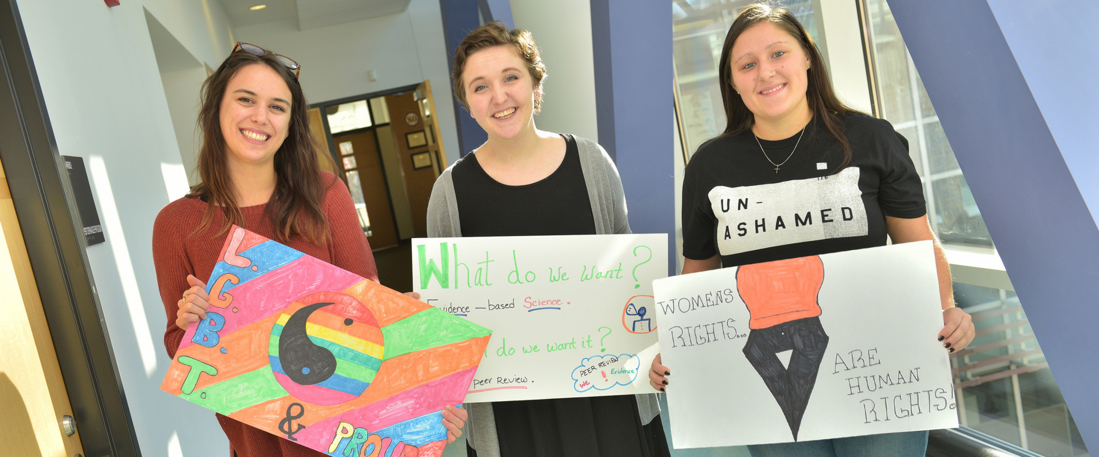 Students with social awareness signs