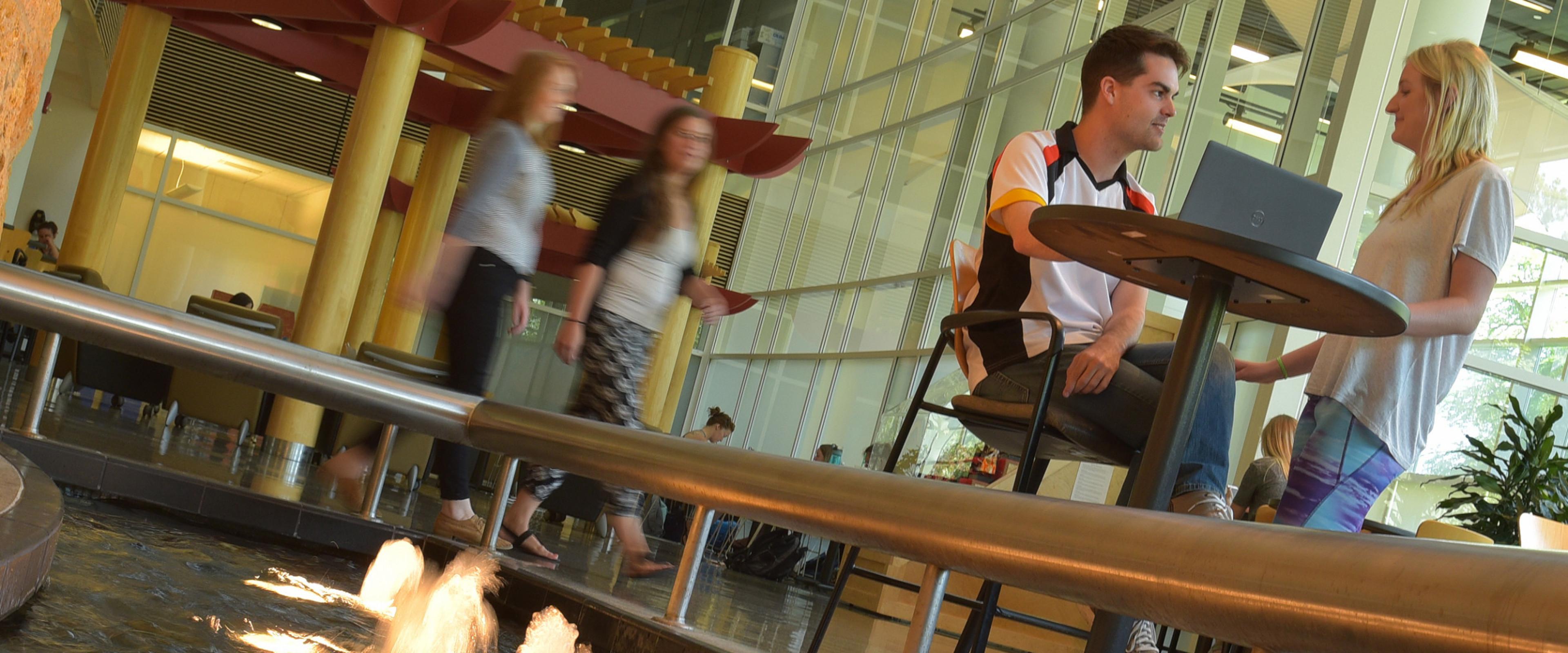 students in atrium