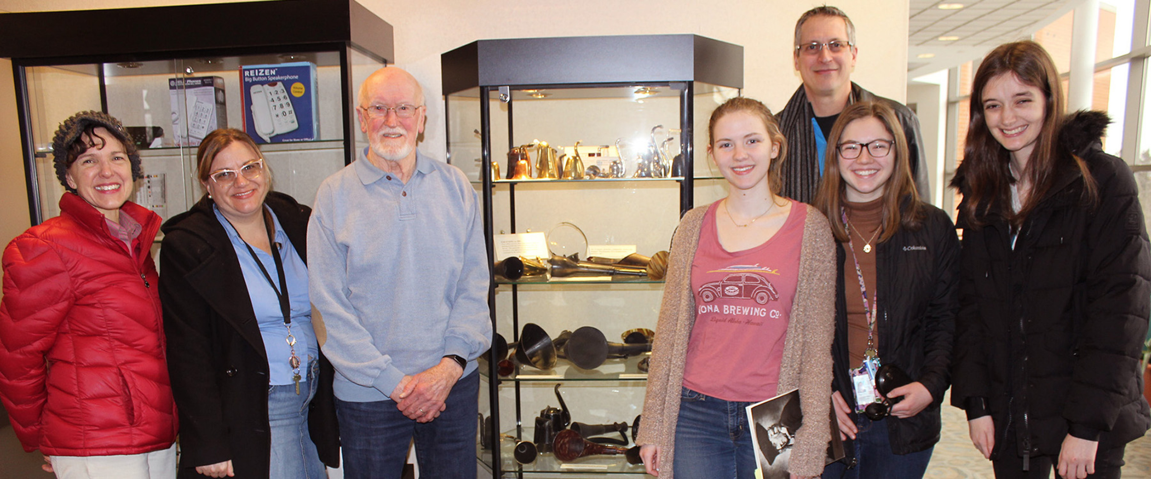 Students and community at hearing aid collection