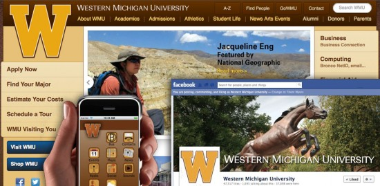 Collage image of WMU Web home page, Facebook fan page and iPhone app.