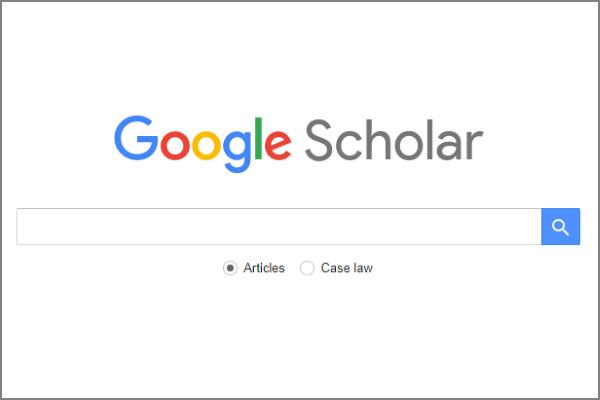 Google scholar logo and search bar.