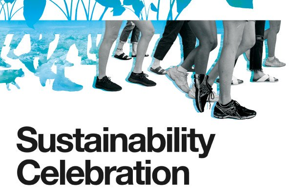 """text says, """"sustainability celebration, Friday, September 17"""" with multiple feet walking that turn into plants"""