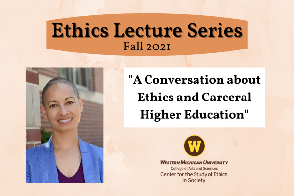 """Photo of guest speaker with title of talk under heading """"Ethics Lecture Series"""" with Ethics Center logo at bottom"""