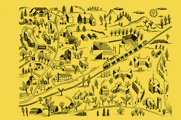 a 1940's hand drawing of WMU's buildings and campus by John Kemper