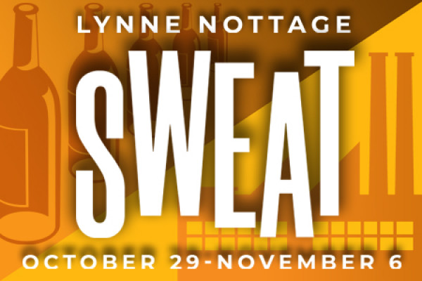 Yellow graphic that reads: Lynne Nottage SWEAT