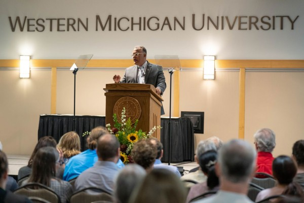 WMU President Edward Montgomery delivers his State of the University address at a lectern.