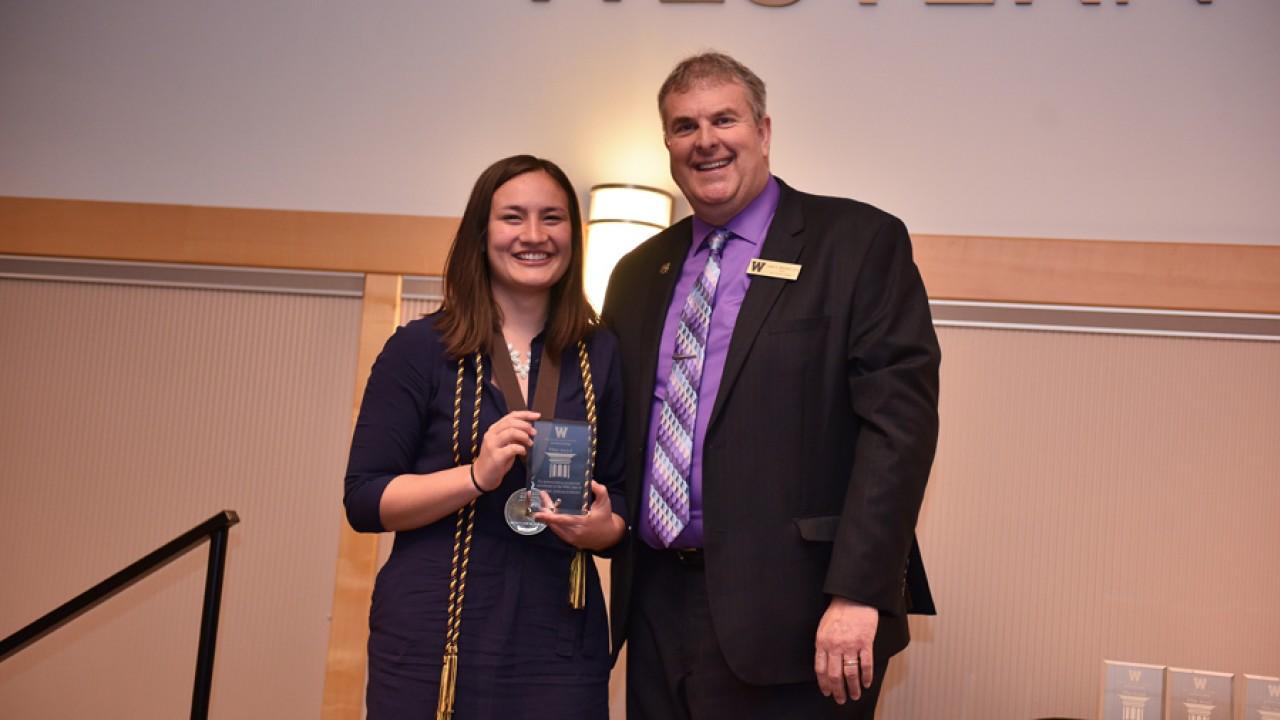Honors Student Marine Bolliet receives the Pillar Award
