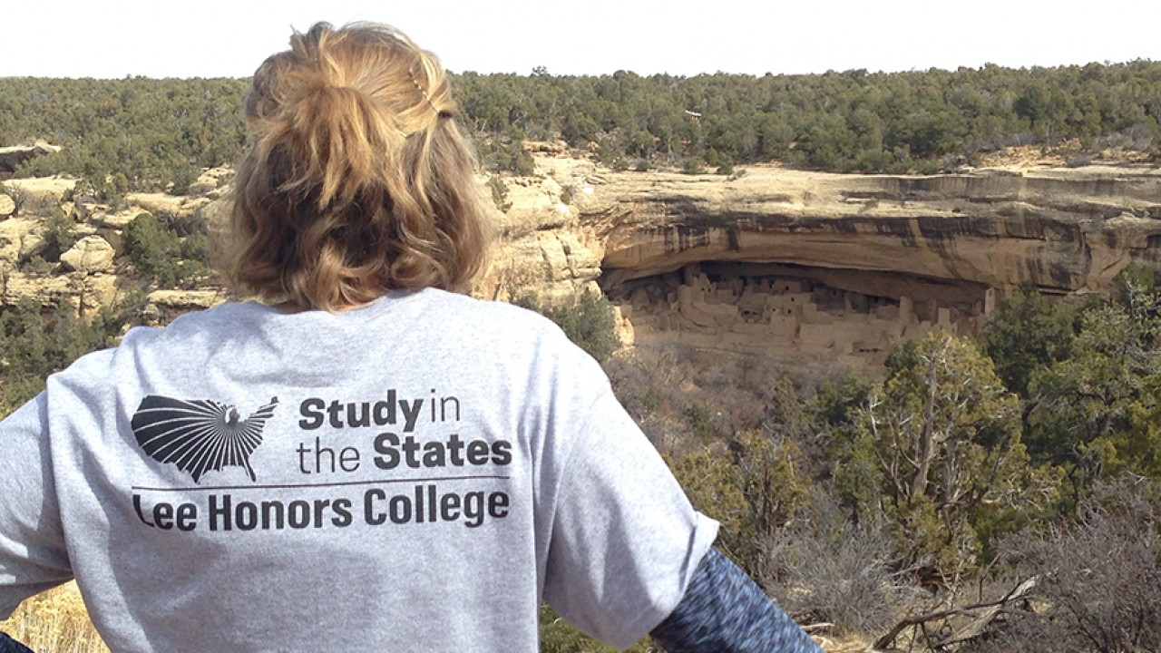 An honors college student wearing a Study in the States t-shirt stands in front of Anasazi dwellings with her back to the camera.