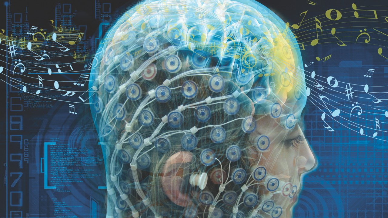 A person wearing an EEG cap.