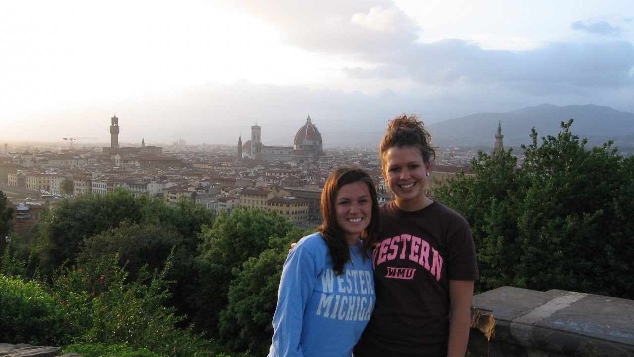 Two female students overlooking Florence, Italy on a study abroad trip