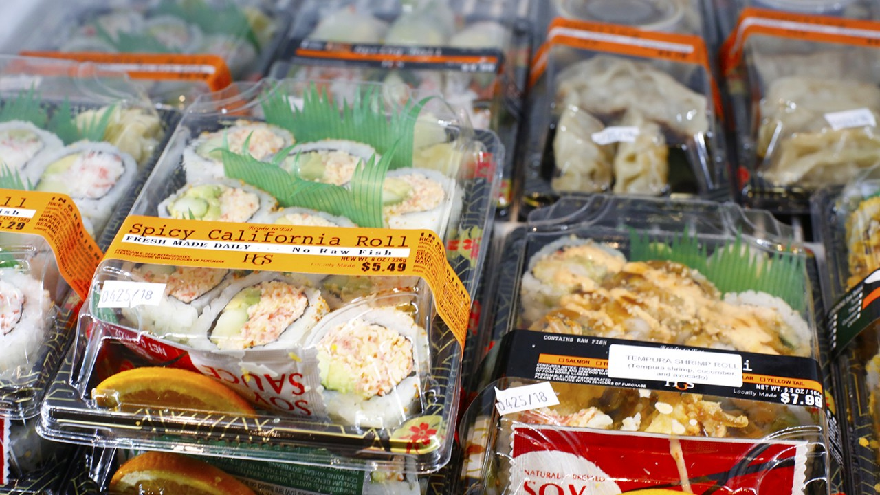 Fresh sushi made by Hunan Gardens in the cooler at the cafe