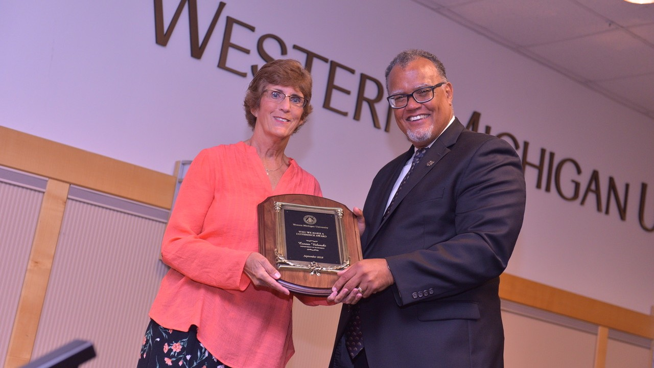 Connie Volenski with WMU President Edward Montgomery
