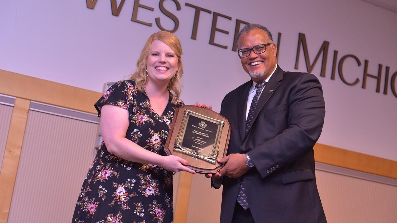 Katie DeCamp with WMU President Edward Montgomery