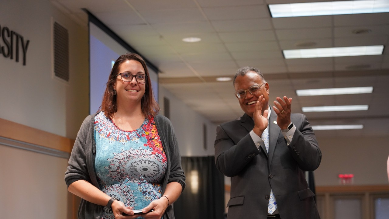 Rebecca Huntley with WMU President Montgomery