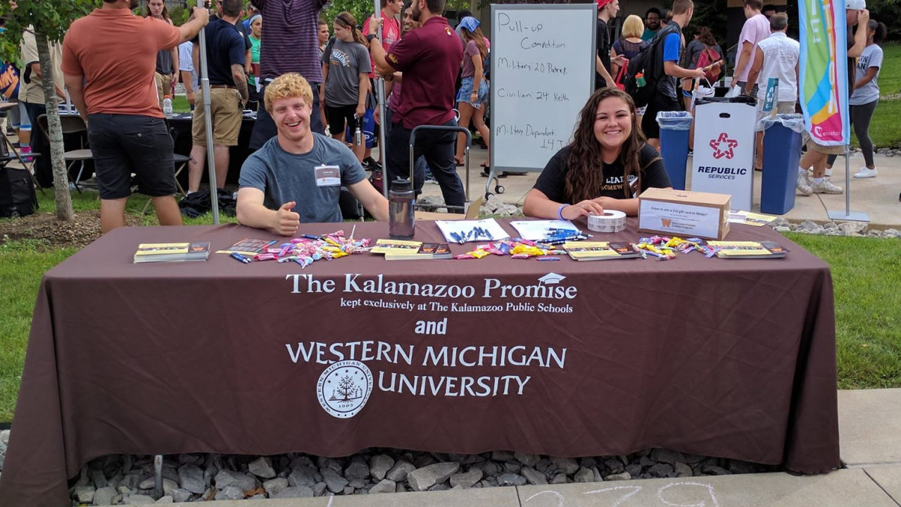 two of Kalamazoo Promise Peer Mentors at WMU`s Bronco Bash event