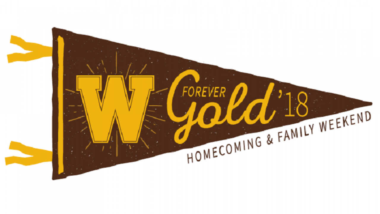 "brown pennant with gold W and the words ""Forever Gold '18 Homecoming and family weekend"""