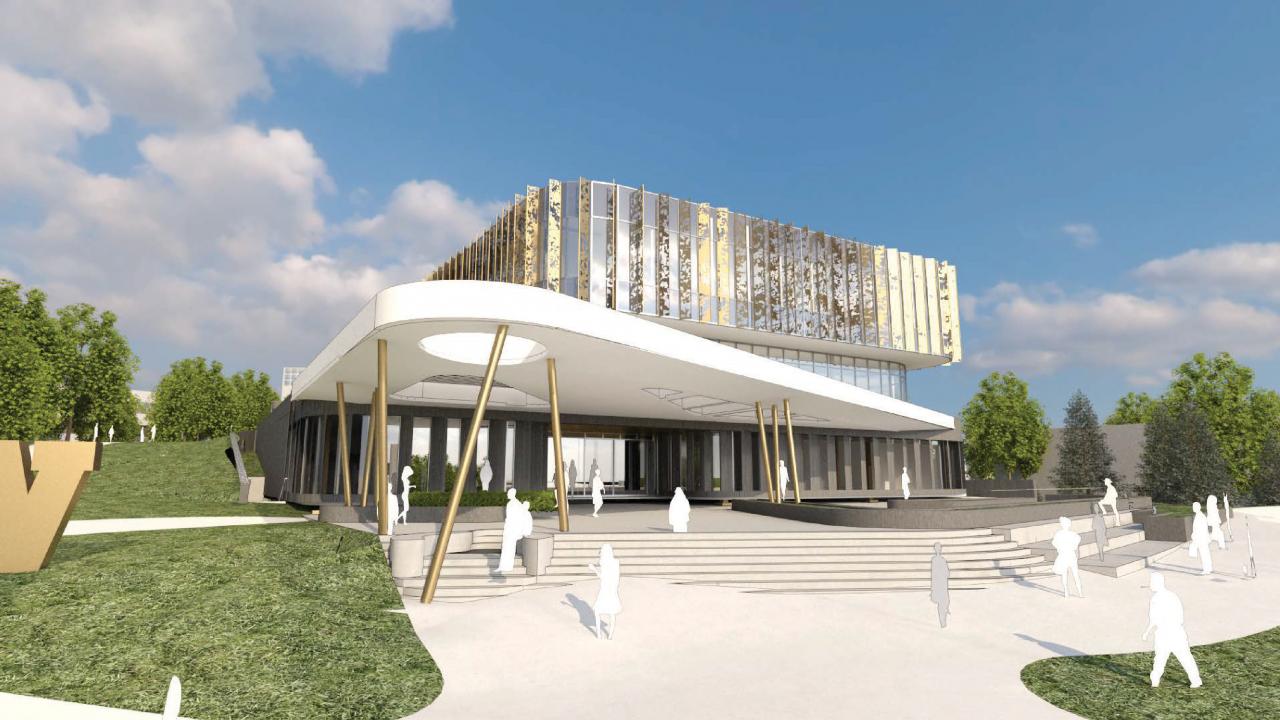 Exterior of New Student Center (concept art)