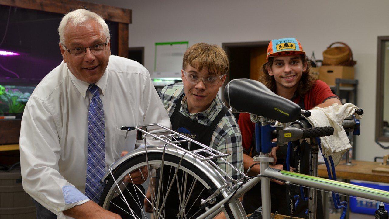 Peter Strazdas and WMU Open Bike Shop Staff