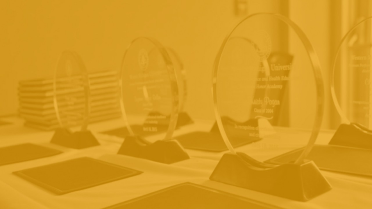 Glass awards on a table