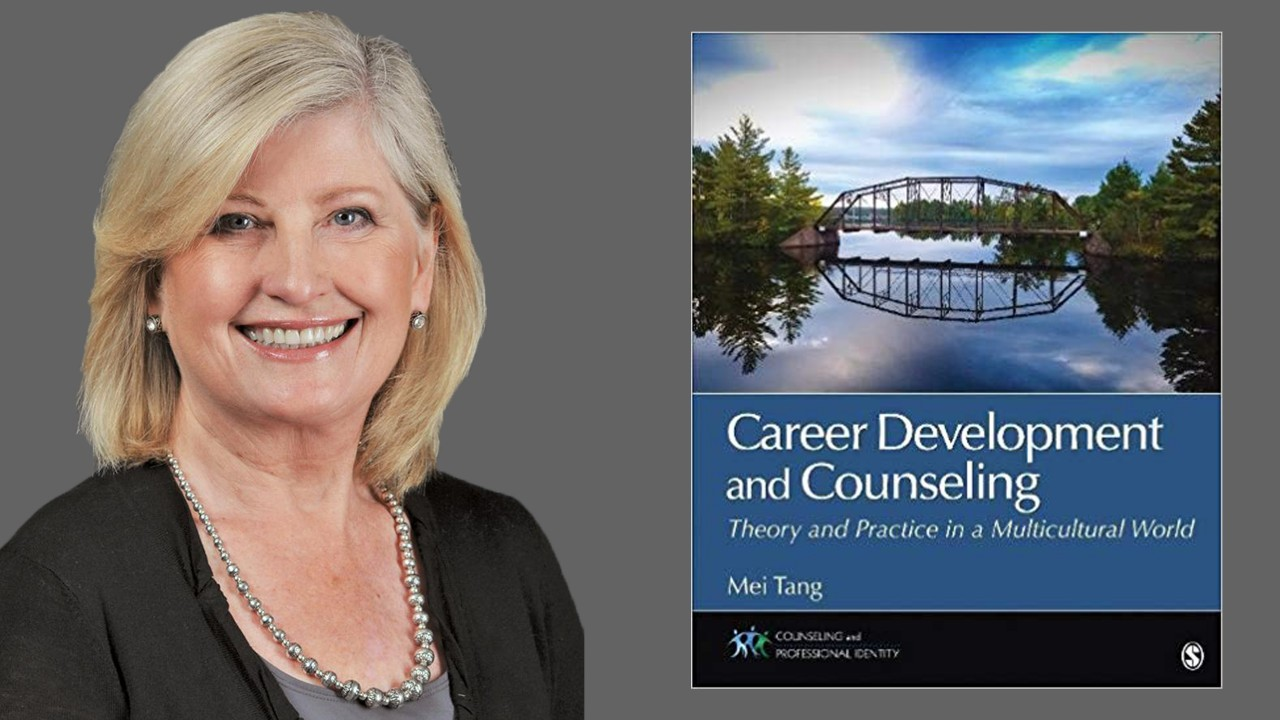 Dr Anderson head shot and image of Career Development and Counseling book cover