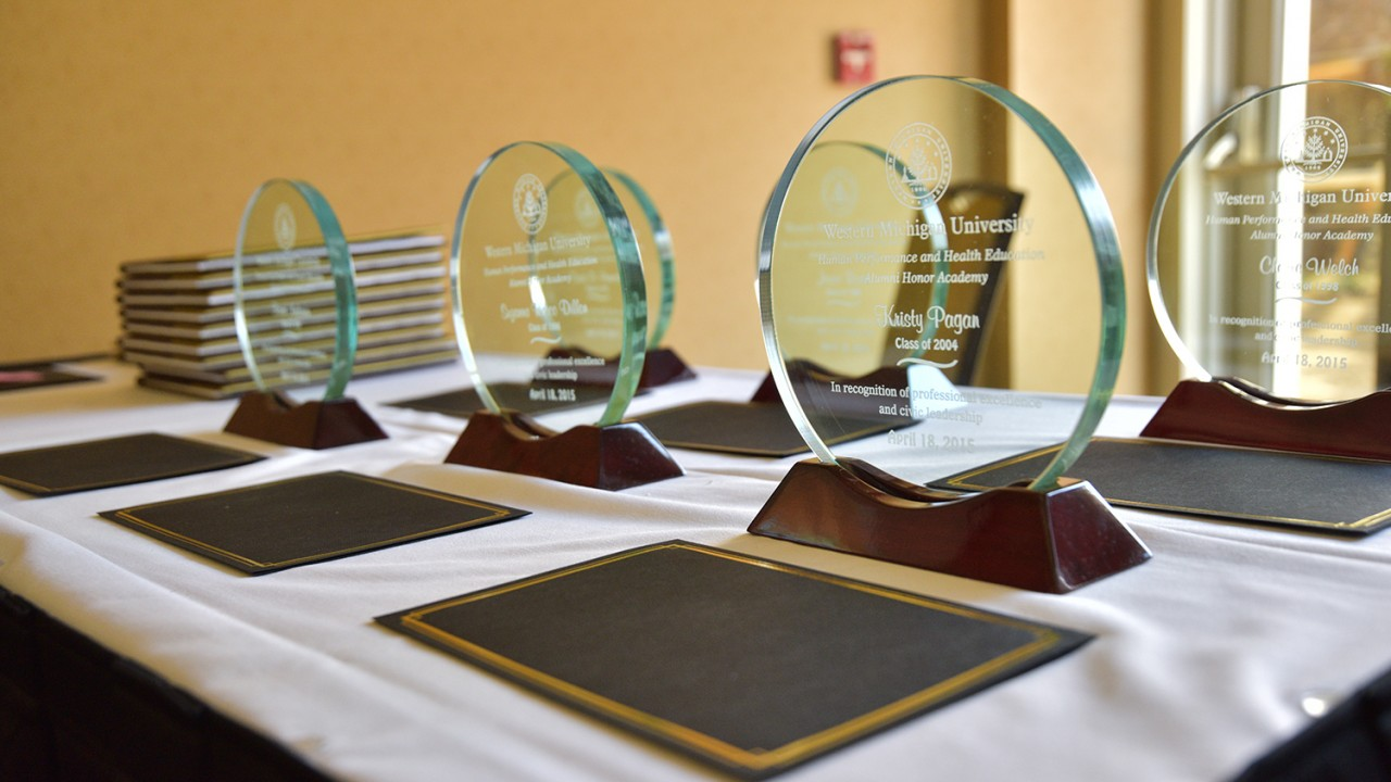 awards on a table