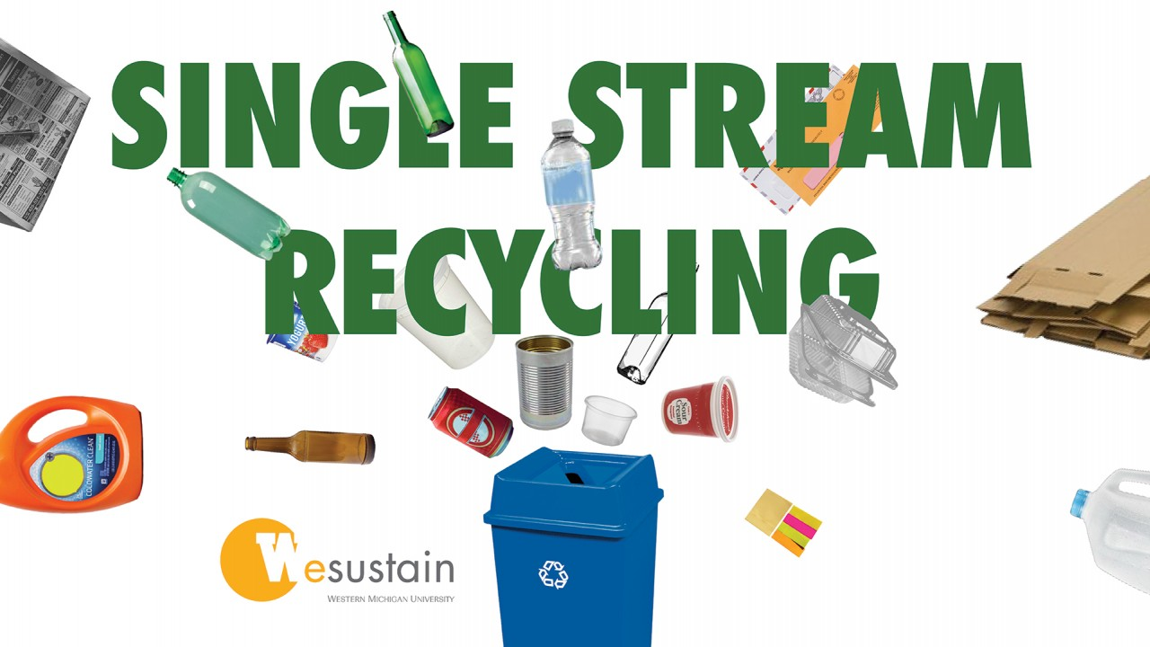 """""""Single Stream Recycling"""" typed in green surrounded by various recycling items being flung into a blue recycling bin."""