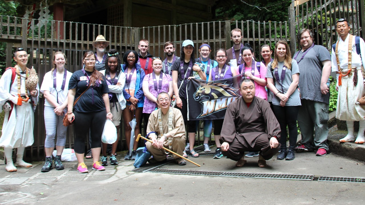 WMU students posing for a picture in Japan during a study abroad program. Contact s.covell@wmich.edu for more info.