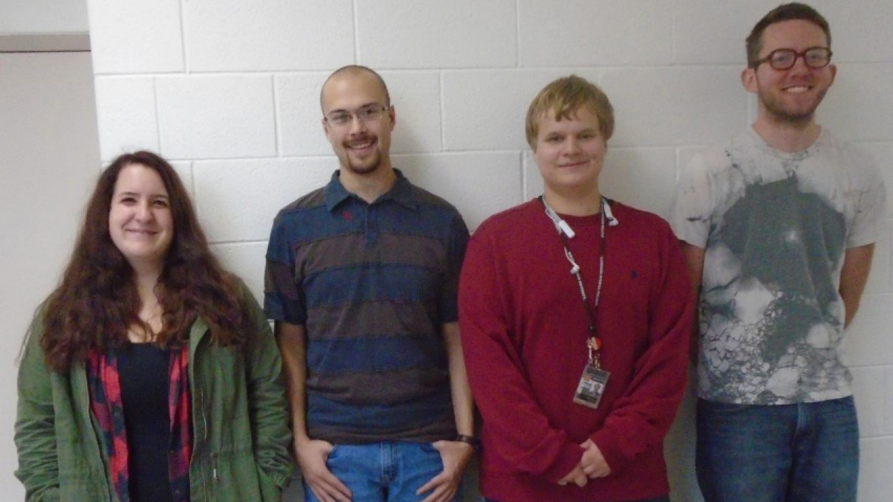 Four members of the Ethics Bowl team for 2018