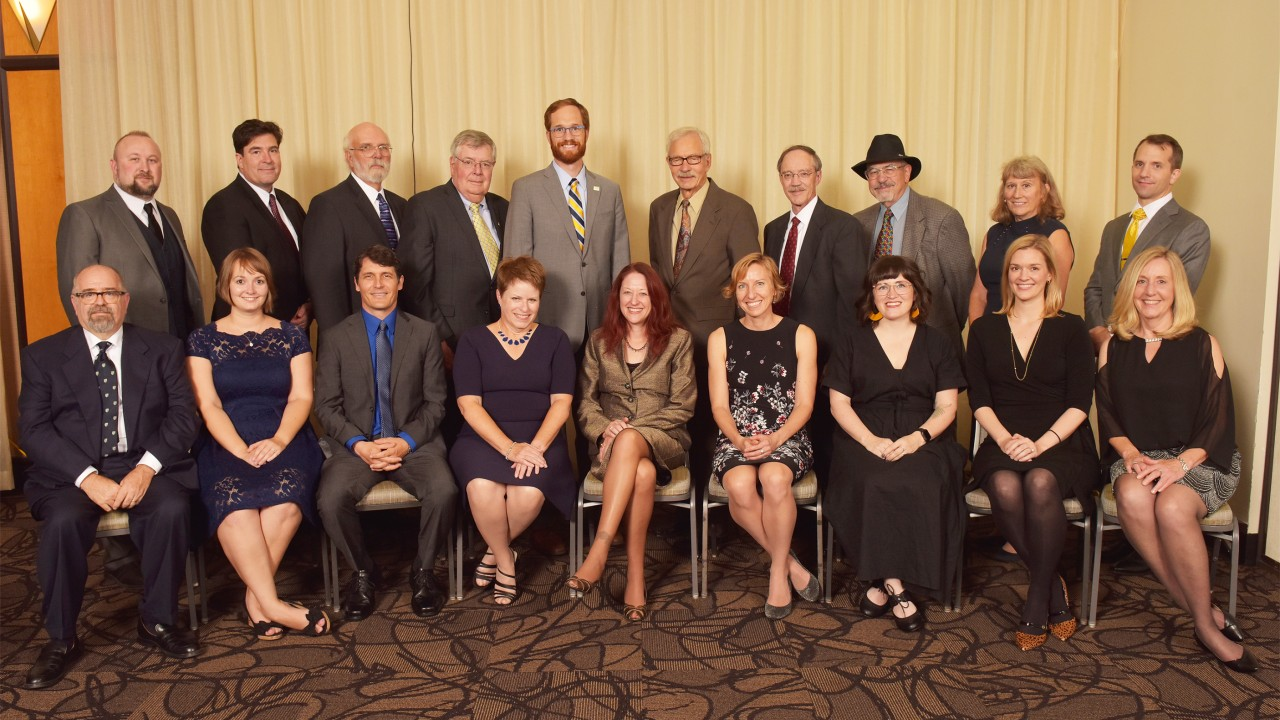 Group of twenty alumni who received Alumni Achievement Awards in October