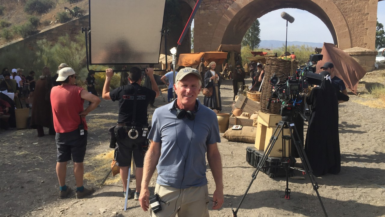 Bob Hercules on the set of his film in Spain