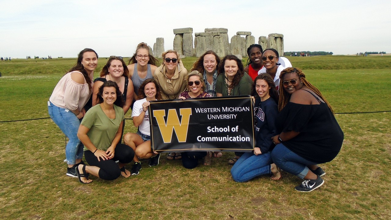 Communication students in front of Stonehenge on a study abroad trip to London in summer 2017.