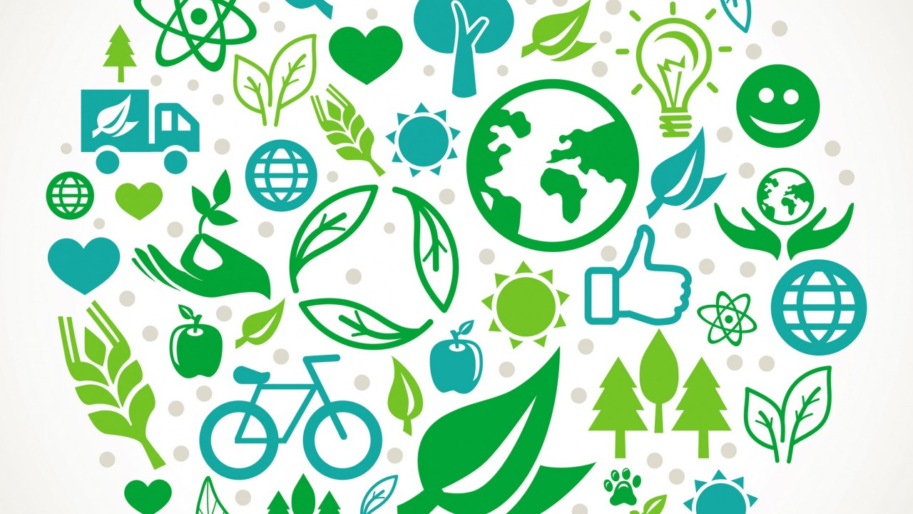 Graphic of eco-friendly icons: leaves, planets, trees, apples, light bulbs, the sun, etc.