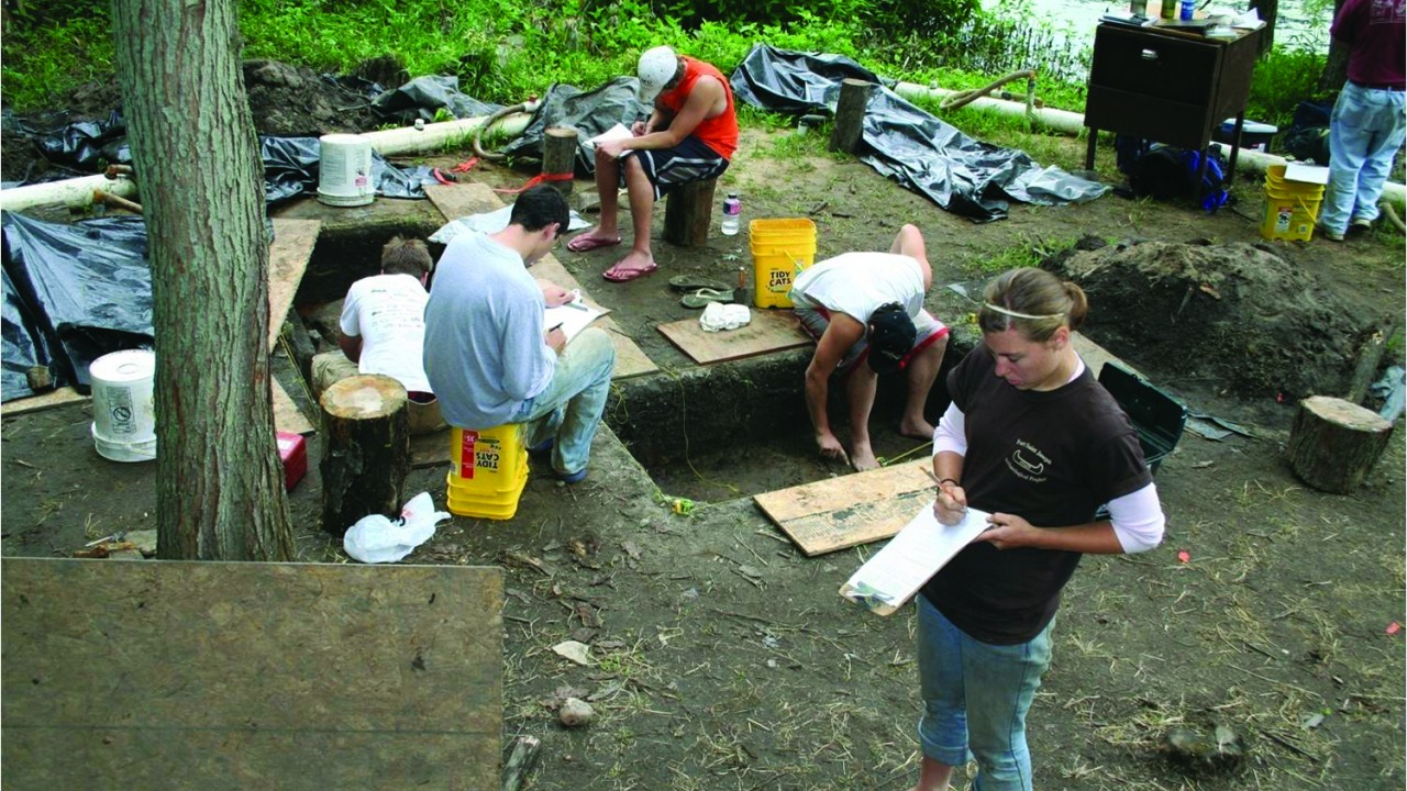 Students excavate the ground at Fort St. Joseph