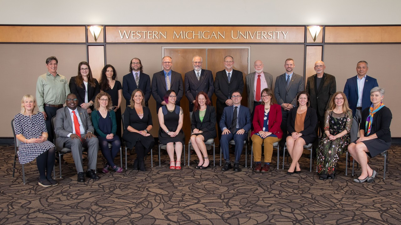 Group of Alumni Achievement Award winners with Dean Carla Koretsky