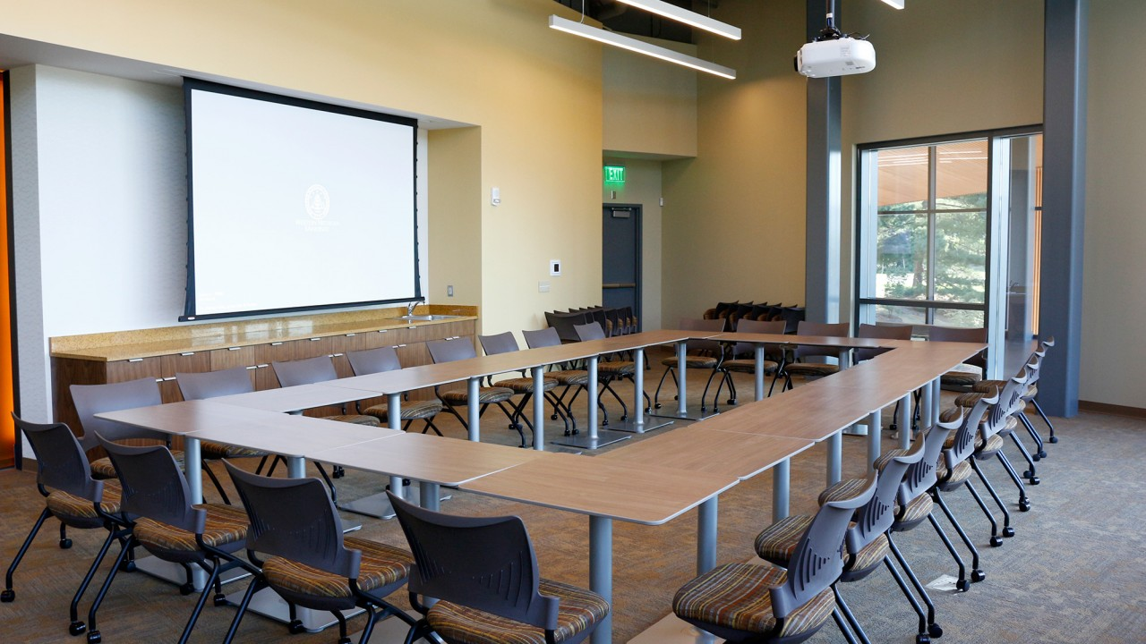 Bronco Room in boardroom style setup