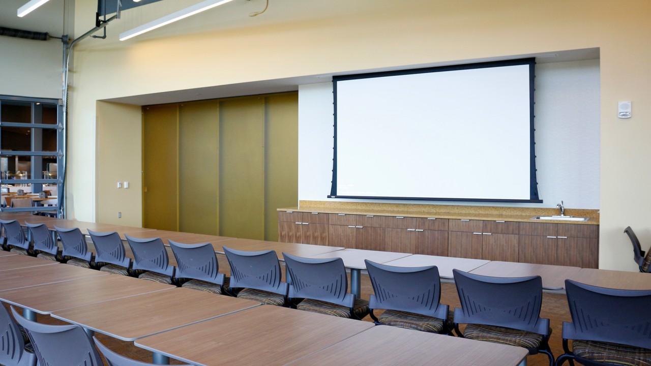 Bronco Room in classroom style setup