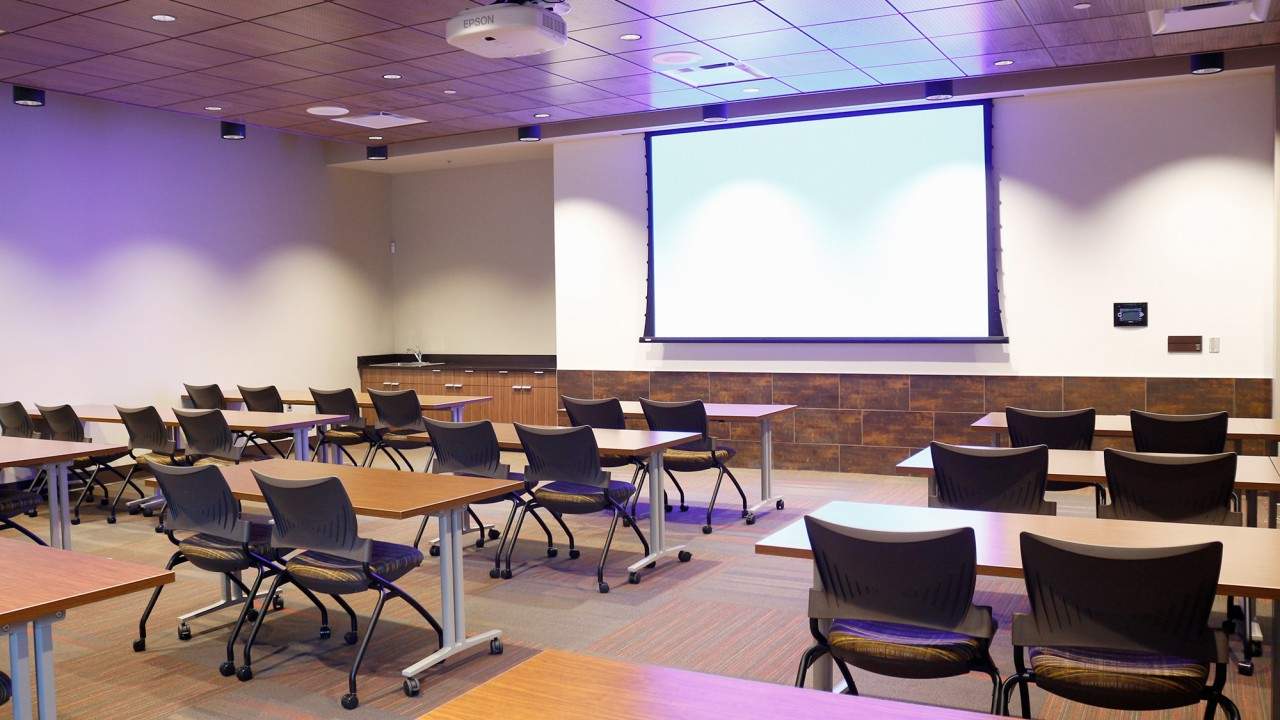 Westside room in classroom style setup