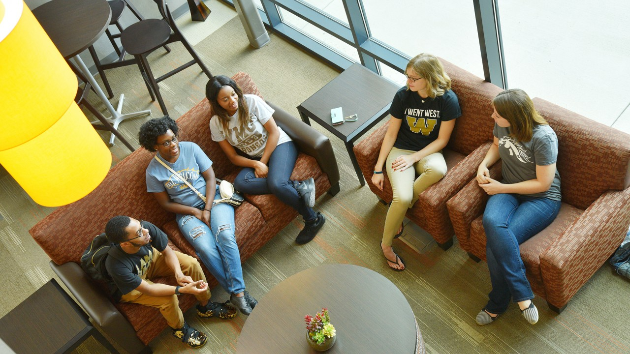 Students in lobby of Western Heights