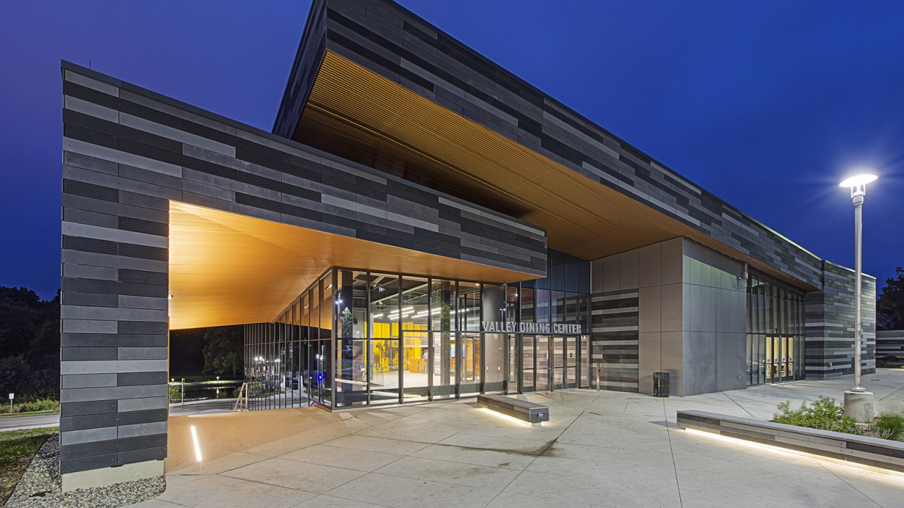 Exterior of Valley Dining Center at night