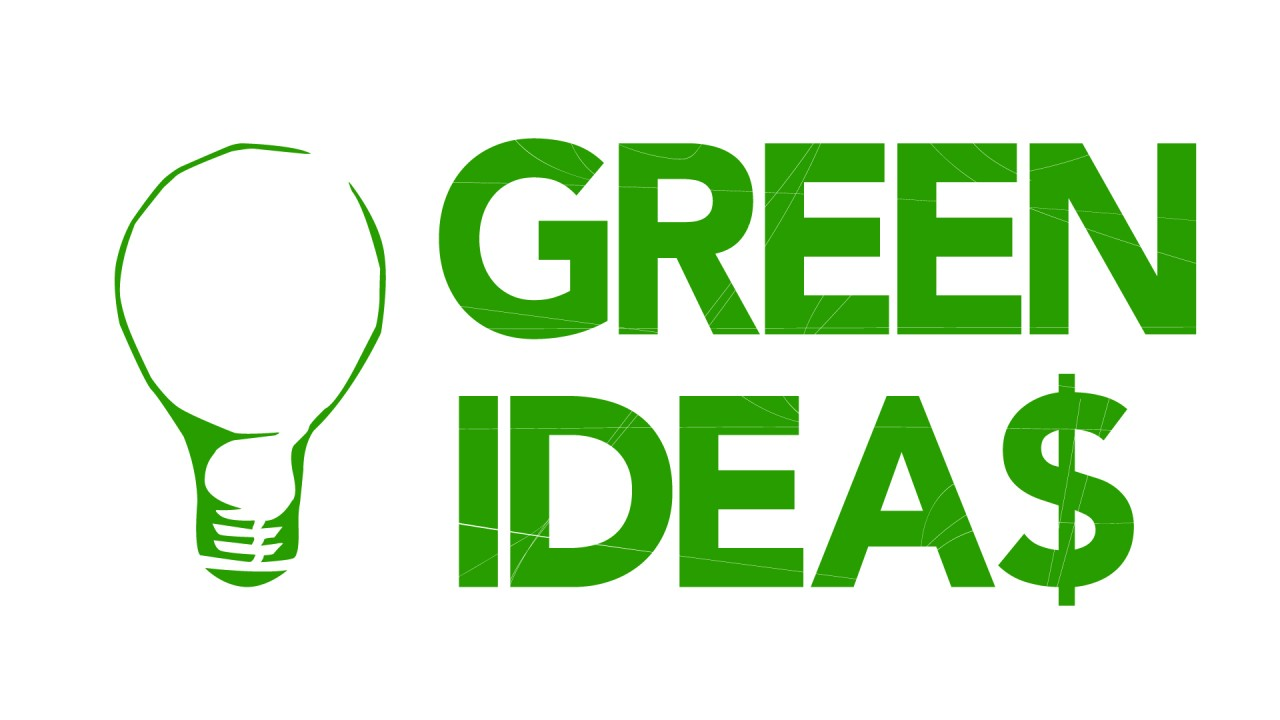 """Green Ideas"" spelled in bold green letters. the S is a dollar sign. A green light-bulb to the left of the words."