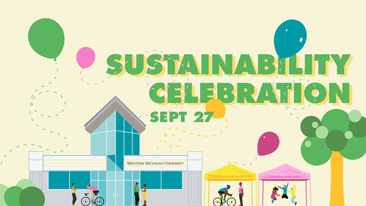 """text """"sustainability celebration"""" in green over a scene of bike riders, kids playing, and people talking in front of a building"""