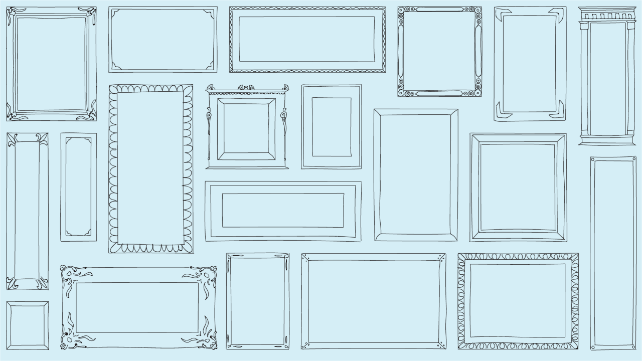 blue wall filled empty picture frames that are drawn by hand