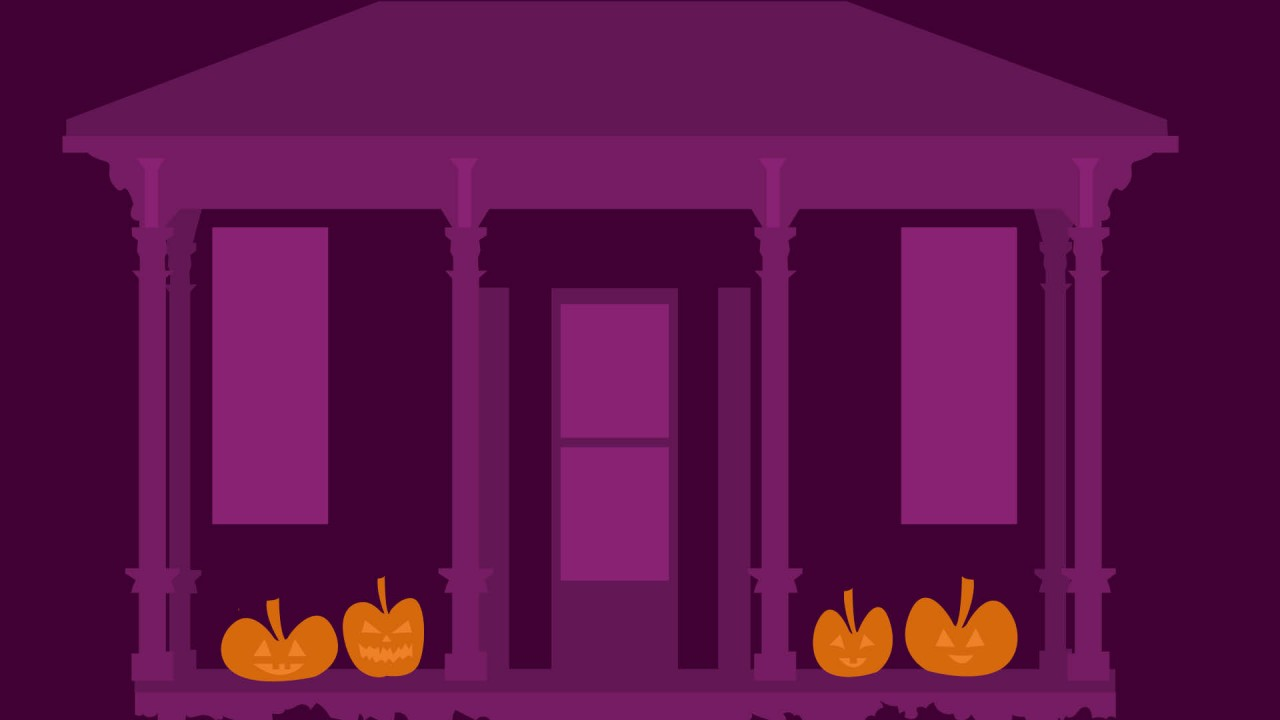 Purple haunted house with four pumpkins on porch